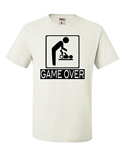 Go All Out Screenprinting Medium White Adult Game Over New Dad New Father Funny T-Shirt -