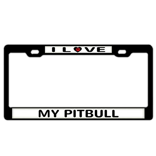 Hopes's Aluminum Metal License Plate Frame - Custom Humor License Plate Frame Cover Holder Car Tag with Screws 2 Holes I'd Rather Be Harness Racing Horse - I Love My Pitbull