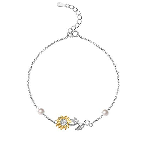 Cladtina Sterling Silver Sunflower Anklet Bracelet for Women Girls (sunfower Anklets