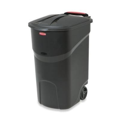 (Rubbermaid Roughneck 45 Gal. Black Wheeled Trash Can with)