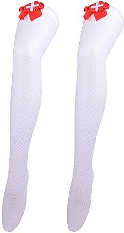 Stockings Halloween Party Costumes for Women Knee High Socks Sexy Leggings Nurse - Nurse Thigh Highs Fishnet Stockings