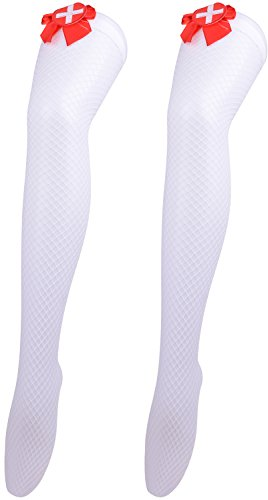 Cute Nurse Halloween Costumes (Stockings Halloween Party Costumes for Women Knee High Socks Sexy Leggings Nurse)