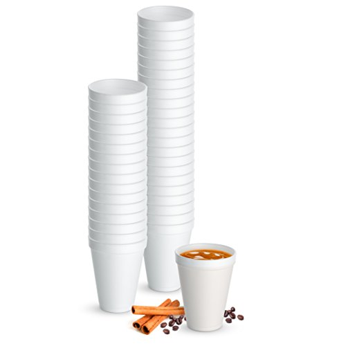 Foam Hot (12 Oz. White Disposable Drink Foam Cups Hot and Cold Coffee Cup (Pack of 48))
