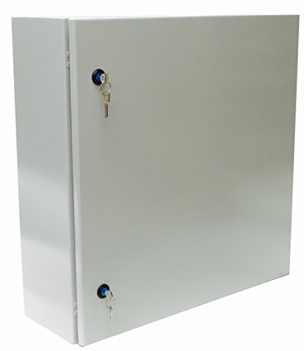 Yuco Fully Enclosed (No Gland Plate) IP66 Enclosure with 2 sets of Lock and Keys, UL Certified, Nema 4, 16 Gauge, Single Door Hinge Cover, Wall-Mount, Galvanized Backplate (28 x 24 x 12) by Yuco