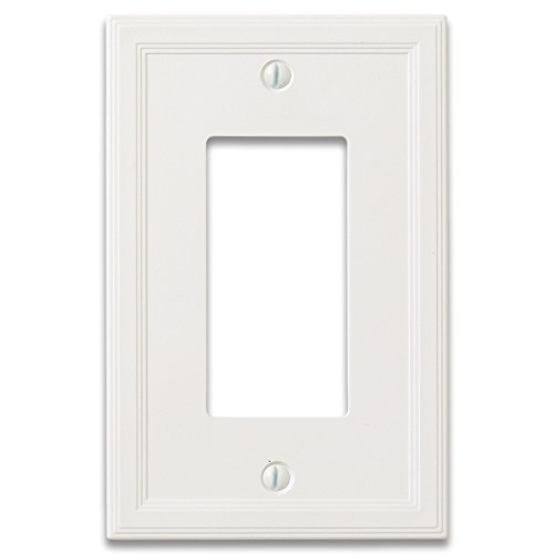 Questech Cornice Insulated Decorative Switch Plate/Wall Plate Cover - Made in the USA (Single Decorator GFCI - 3 Pack, White) ()
