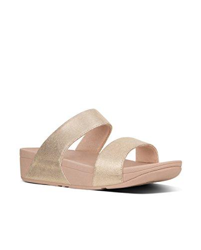 FITFLOP Shimmy Slide-Foil Print Suede, Sandalias con Plataforma Para Mujer Rosa (Pink Foil Suede)