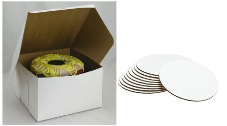 COMBO 25-PACK 8'' x 8'' x 5'' White Cake Bakery Boxes & 8'' Cake Circle Tops Combo Pack