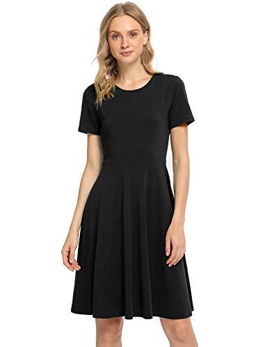 Pintage Women's Short Sleeves Crew Neck Knee Length Skater Dress Large Black (Skater Dress Below Knee)