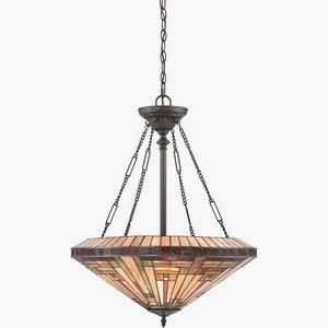 - Quoizel TFST2822VB Stephen Tiffany Bowl Pendant Ceiling Lighting, 4-Light, 400 Watts, Vintage Bronze (28