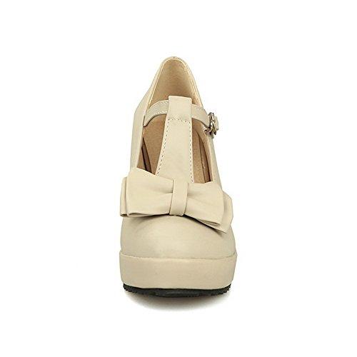 BalaMasa da donna zeppe fibbia in morbido materiale pumps-shoes, Beige (Beige), 35
