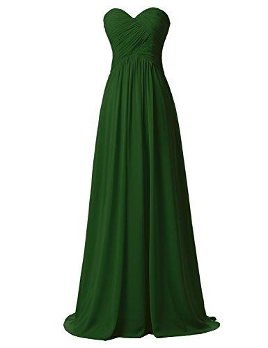Maxikleid Damen Clearbridal Abendkleid BrautjungfernKleid Herzform Olivgrün Lange Chiffon CSD182 X4Pw4d