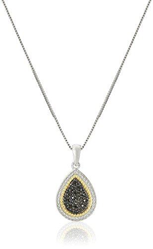 Sterling Silver Black Diamond Pear Shape Pendant Necklace, 18