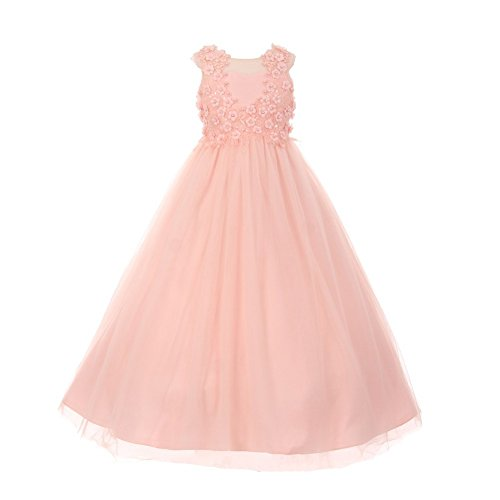 Big Girls Blush 3D Flower Pearl Adorned Illusion Junior Bridesmaid Dress 10 by Cinderella Couture