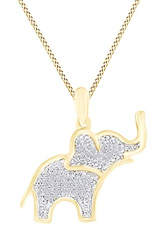 (Round White Natural Diamond Elephant Pendant Necklace in 14K Yellow Gold Over Sterling Silver (0.13 Cttw) )