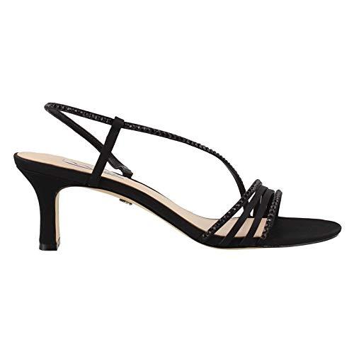 Nina Women's Gerri-Ls Dress Sandal, Black Lus Sat/Black Stone, 6.5 M US