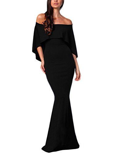 Dokotoo Womens Fashion Elegant Formal Off Shoulder Ruffles Short Sleeve Gown Mermaid Evening Prom Party Long Dress Black Large by Dokotoo