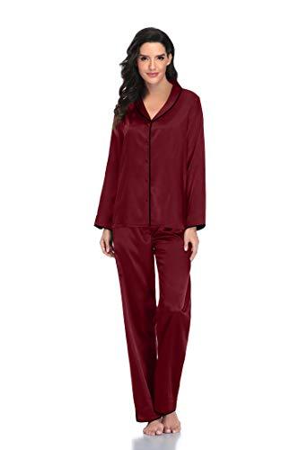 Button Down Pjs for Women set Wine pajamas for women Satin Pj Set Silky Pajama set Long Sleeve Burgundy 2 Piece Pajamas