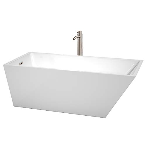 Wyndham Collection WCBTK150167ATP11BN Hannah Freestanding Bathtub with Floor Mounted Faucet in Brushed Nickel, 67