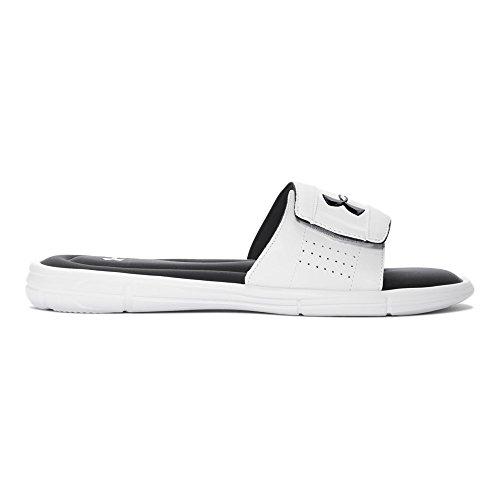 Under Armour mens Ignite V Slide Sandal, White (100)/Black, 9