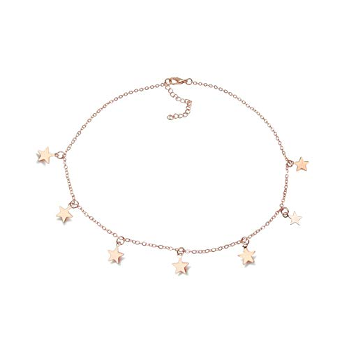 Tiande Lucky Star Choker Necklace Pendant Disc Chain Statement Necklace Women Girls - Rose ()