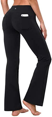 "BUBBLELIME 29""/31""/33""/35"" 4 Styles Women Bootcut Yoga Pants Basic/Back Pocket/Straight Leg Soft Workout Flare Tummy Control 1"