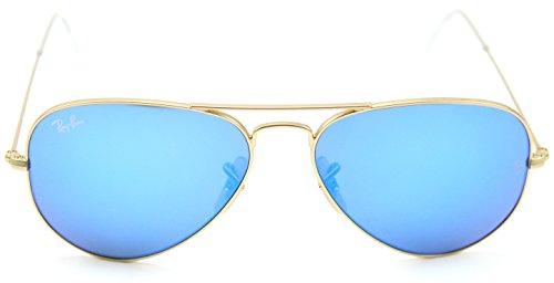 Ray-Ban RB3025 AVIATOR FLASH LENSES Sunglasses Blue Mirror 112/17, 55mm (Ray Ban Aviators Blue Flash)