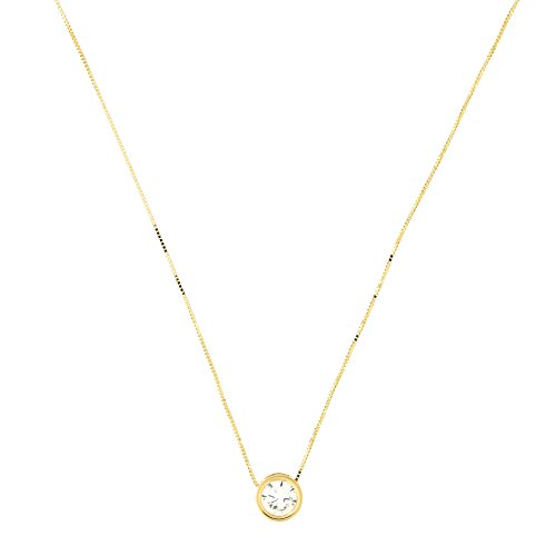(14k Yellow Gold 7 Millimeter CZ April Birthstone Bezel Set Slide Pendant Necklace, 15 Inches)