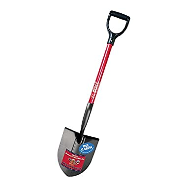 Bully Tools 92510 12-Gauge Round Point Shovel with Fiberglass D-Grip Handle