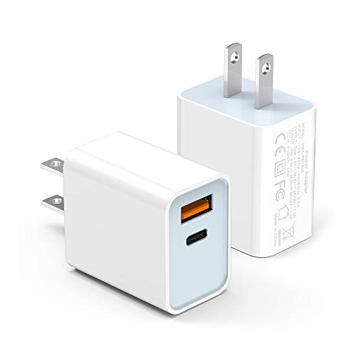 Tissyee iPhone Charger, 2-Pack 20W Dual-Port Wall Charger Plug, PD with QC 3.0 Quick Charger, USB C Charger for iPhone 12, 12 Mini, 12 Pro, 12 Pro Max, iPad Pro, AirPods Pro, and More (White)