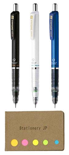 Zebra DelGuard Mechanical Pencil 0.7mm, 3 Color Body (Black/Blue/White), Sticky Notes Value Set