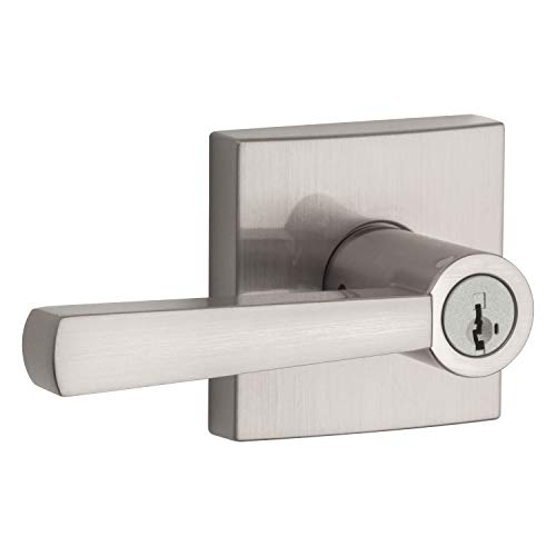 Baldwin Spyglass Keyed Entry Lever for Garage or Office Door Handle in Satin Nickel Featuring SmartKey Security with a Modern Contemporary Slim Design for Interior and Exterior Doors, Prestige Series ()