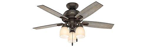 Hunter 44 Donegan Three Light Onyx Bengal Ceiling Fan with Light