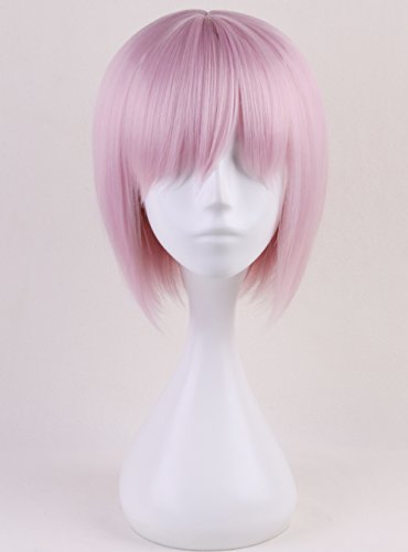Anime Short Straight Light Pink Cosplay Wig Women Girls' Party Hair Synthetic Wigs+ Free (Order Cosplay)