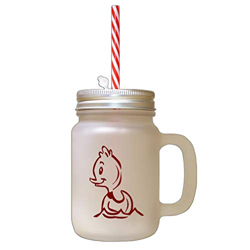 Maroon Duck Frosted Glass Mason Jar With Straw