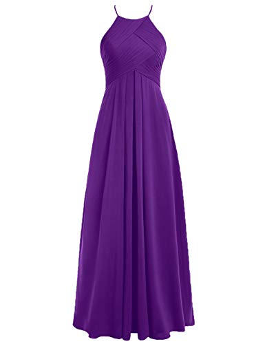 Hochzeitskleider Linie Abendkleider Neckholder A Ballkleider Violett Chiffon Rückenfrei 54W Lang Brautjungfernkleider qwTPSS