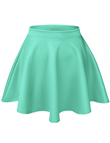 Luna Flower Women's Basic Versatile Stretchy Flared Casual Mini Skater Skirt Mint Large (GSKW001)