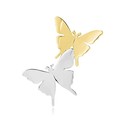 EONFINE Fashion Women Two Tone Gold & Silver Double Vintage Butterfly Brooches Pins For Party - Two Tone Brooch Butterfly
