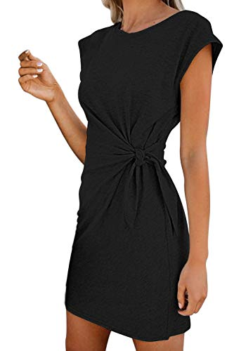 LaSuiveur Women's Casual Bodycon Tie Waist Cap Sleeve T Shirt Dress