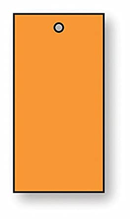 Orange Signs and Labels AMZRESLMZRECAPLY100O Rectangular Ply Tag Pack of 100 25 mm H x 45 mm W