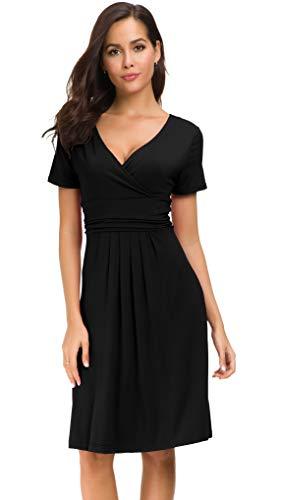 Afibi Short Sleeve Ruched Empire Waist V-Neck Fit and Flare Cocktail Dress (Large, Black)