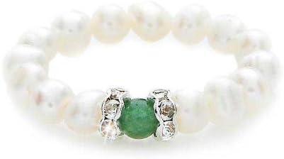 silvity Mujer de perlas de cultivo de agua dulce con media piedra preciosa verde. Color: Verde 3mm 804004–20