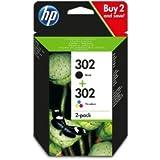 HP 302 2-pack Black/Tri-colour Original Ink Cartridges Combo pack X4D37AE