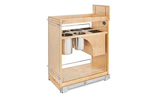 Rev-A-Shelf - 448KB-BCSC-11C - 11 in. Pull-Out Wood Base Cabinet Organizer with Knife Block and Soft-Close - Maple Cabinet Rev A-shelf