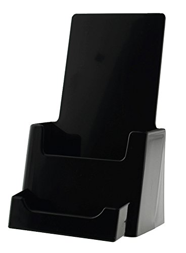 Marketing Holders Black Molded Plastic Brochure Holder with Business Card Pocket, 4.25 x 7.875 x 4.25-Inch, for Countertop Use Set of 2