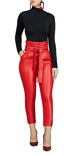 - LKOUS Womens PU Stripe High Waisted Lounge Work Skinny Pencil Long Leather Pants with Belt Plus Size Red M