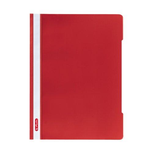 Herlitz 11317138 Schnellhefter A4 - Quality, Polypropylen-Folie, 10-er Packung, Glasklar mit Beschriftungsstreifen, rot