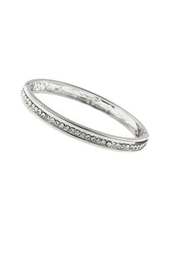David's Bridal Crystal Hinge Bangle Bracelet Style 61391, Crystal Crystal Hinge Bangle Bracelet