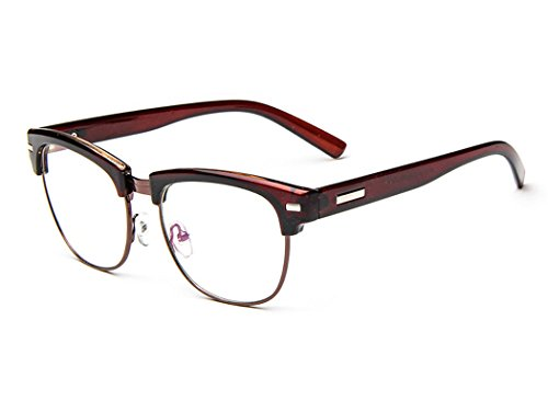 D.King Unisex Vintage Inspired Classic Half Frame Horn Rimmed Clear Lens - Spectacles Round Shaped Frames