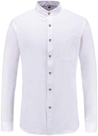 JEETOO Camisa Oxford de manga larga con cuello abuelo para hombre