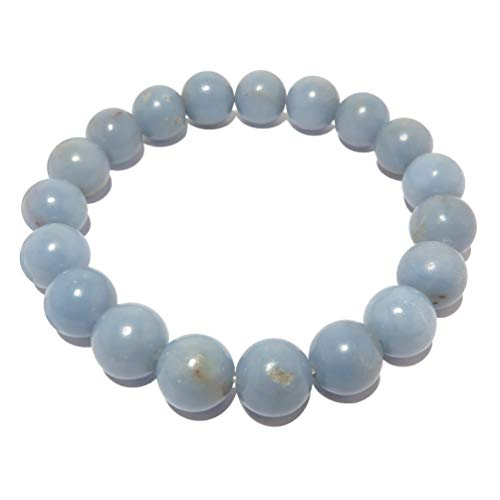 - Angelite Bracelet 9mm Boutique Genuine Glacier Blue Round Gemstone Handmade Stretch Crystal Healing B02 (6.5